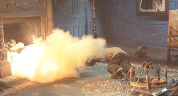 The exploding fireplace gag didn't go over as planned.
