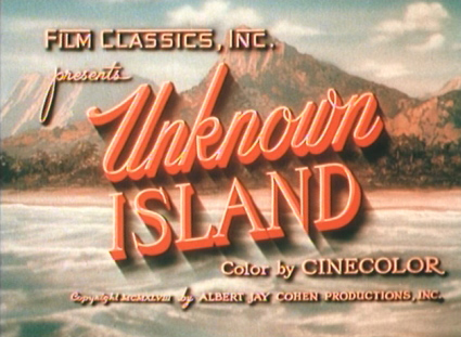 Title card from Unknown Island 1948.